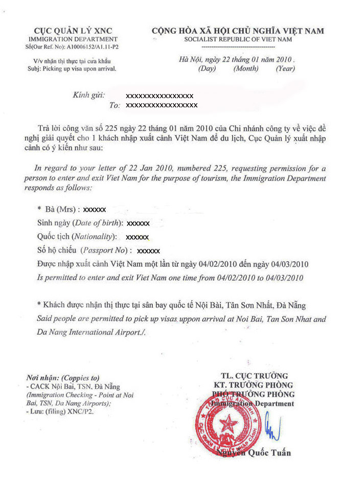 Образец вьетнамского Approval Letter